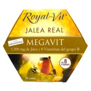 Vista frontal del jalea Real Royal Vit MegaVit 1500mg 20 viales Dietisa en stock