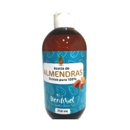 Vista frontal del aceite de Almendras 250 ml. Herdibel en stock
