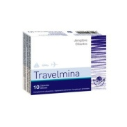 Vista frontal del travelmina 10 cápsulas Bioserum en stock
