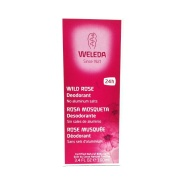 Vista frontal del desodorante spray de rosa 100ml Weleda en stock
